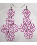 "Pink Filigree Flower and Rhinestone Chandelier Earrings 4 "" Long   - $12.00"