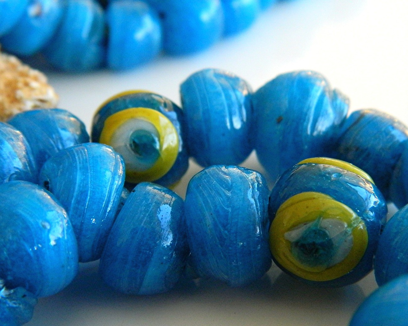 Vintage Glass Wound Beads Strand Necklace Blue Large 103 Craft