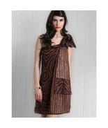 Nikka One Shoulder Zebra Print Silk Beaded Brown Dress Size 8 NWT! - $34.65