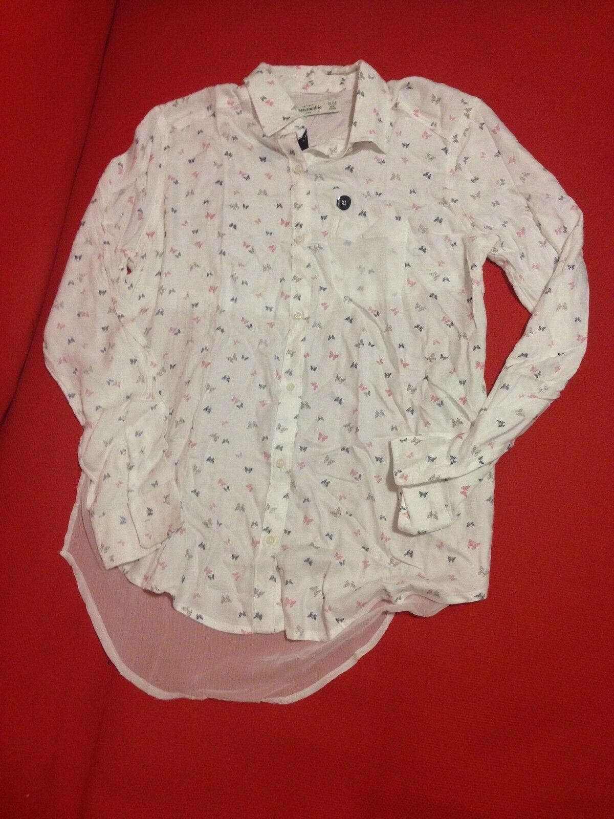 Abercrombie Kids Girl Shirt  Sz 16 Chiffon Flannel Butterfly Print Off White New