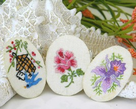 Vintage Embroidered Oval Picture Frame Brooch Pin Flowers Girl  image 2