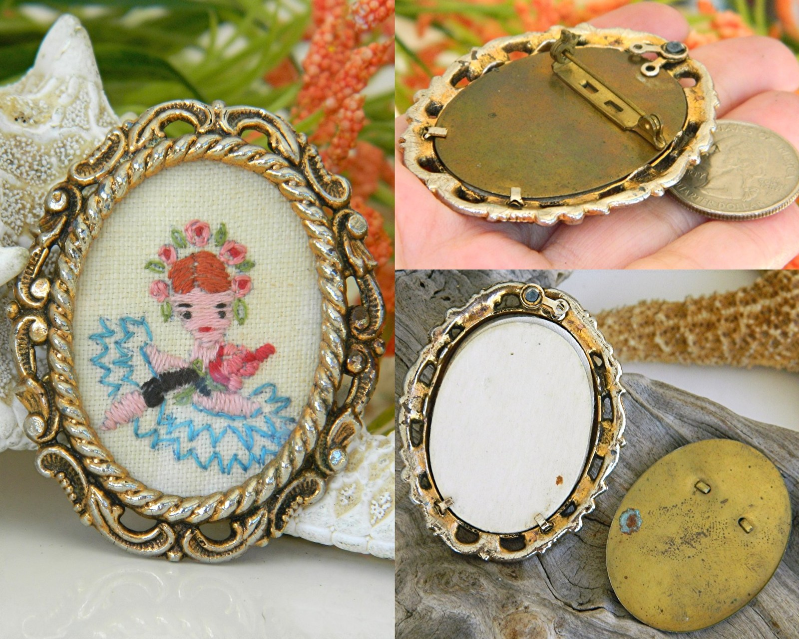 Vintage Embroidered Oval Picture Frame Brooch Pin Flowers Girl  image 3