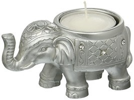 Fashioncraft Good Luck Silver Indian Elephant Candle Holder - $9.29
