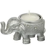 Fashioncraft Good Luck Silver Indian Elephant Candle Holder - $11.51