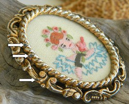 Vintage Embroidered Oval Picture Frame Brooch Pin Flowers Girl  image 5