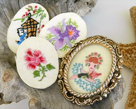 Vintage Embroidered Oval Picture Frame Brooch Pin Flowers Girl  image 6