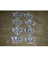 8qty LEFTON Blue Paisley Tea Bag Holder 2354 Hand Painted - $79.99