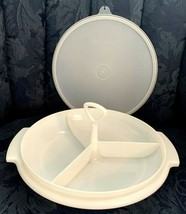 VINTAGE TUPPERWARE SUZETTE DIVIDED RELISH SERVING DISH #608-2 W/ LID & H... - $5.89