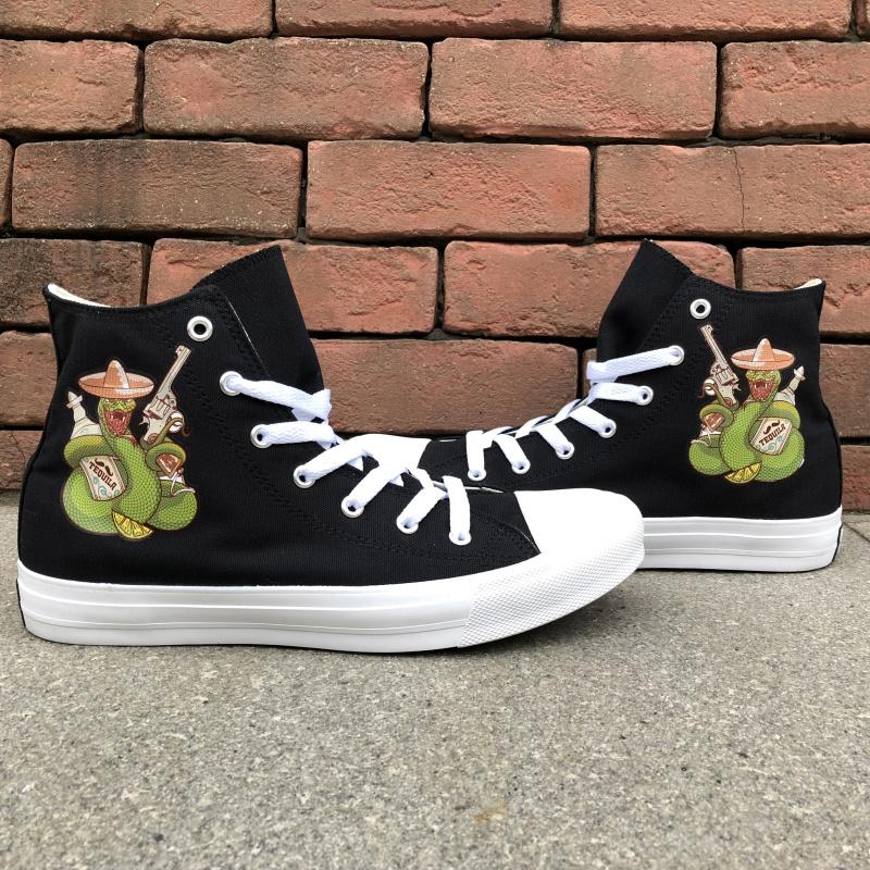 Wen High Top Black Sneakers Design Mexican Snake Style Men Women Canvas  Shoes 5e8479137275