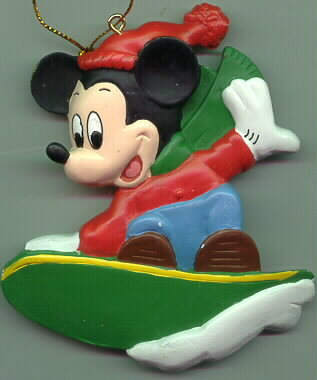 Disney Mickey Mouse Snow Surfing ornament Rare