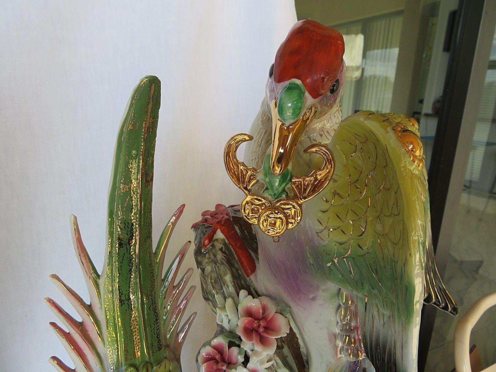 """Important HUGE Paradise Birds Phoenix porcelain statue figure China 23"""" !"""