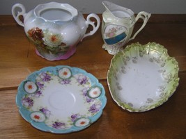 Vintage Lot of Small Handpainted Pink & Green Floral Porcelain Pitcher Shallow  - $9.49