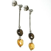 White Gold Earrings 750 18K Charm Pendants with Hearts of Quartz Brown & Citrine image 2