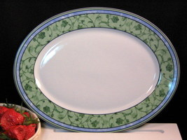 Wedgwood China Watercolour Large Oval Platter Fine Dinnerware, Blue Gree... - $59.99
