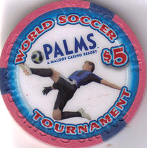 2010 World Soccer Tournament Palms $5 Vegas Chip, New - $10.95