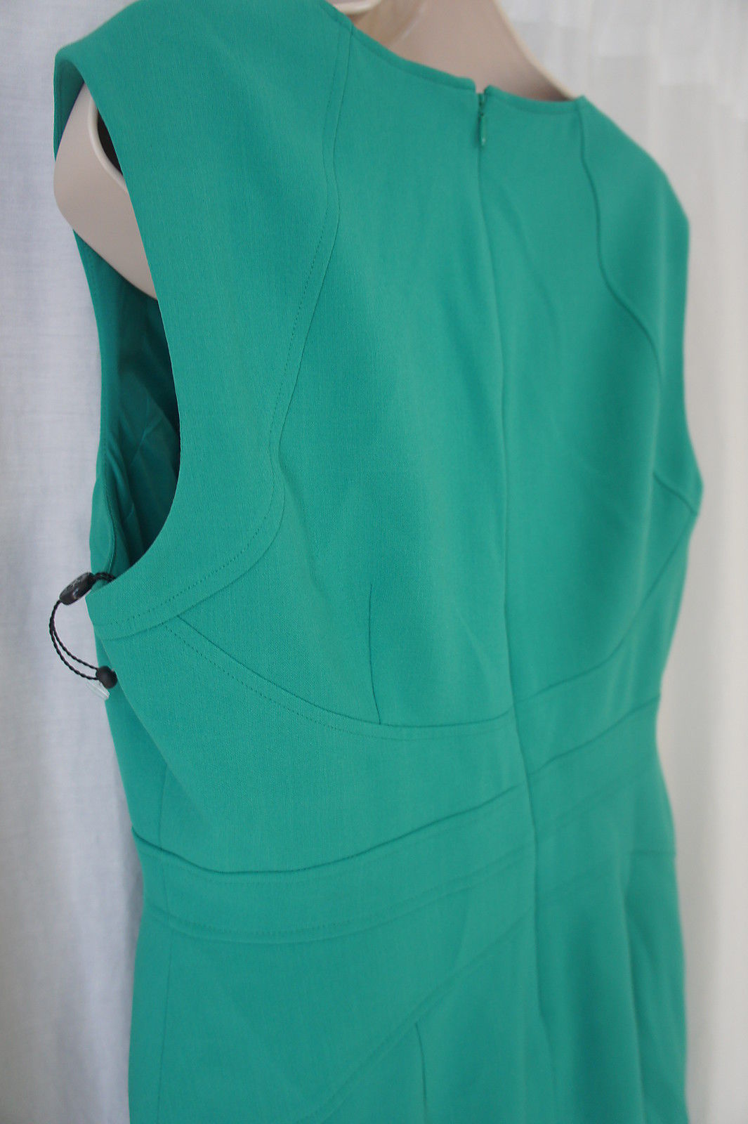 Anne Klein Petite Dress 8P Kelly Green Textured A-Line Sleeveless Career Dress