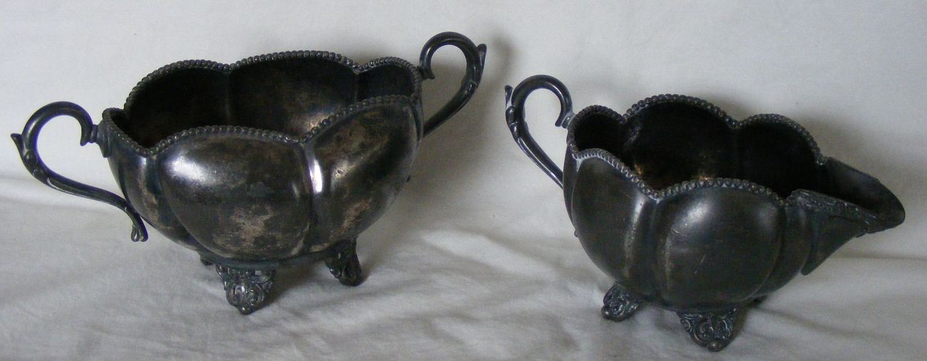 E.G. Webster 1920's silverplate creamer and open sugar bowl, authentic patina