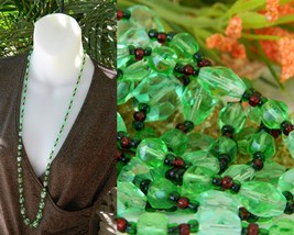 Vintage Glass Faceted Bead Necklace Green Red Graduated Long Strand - $39.95