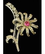 Vintage Coro Craft Grande Fiore Pin Rosa & Cristallo Strass Placcato Rod... - $62.99