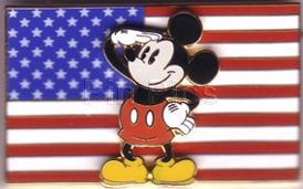 Disney  Patriotic Mickey saluting USA  Flag pin/pins