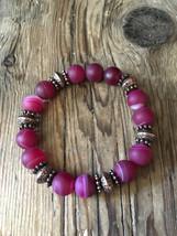 Matte Fire Agate Stretch Bracelet - Fuchsia Pink Matte Banded Agate - Br... - $18.95
