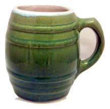 Uhl or McCoy stoneware barrel mug heavy green rustic 1920s pottery - $21.89