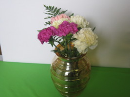 "Hocking Glass 8 1/2"" Iridescent Marigold Banded Ring Vase Made in USA  - $49.99"