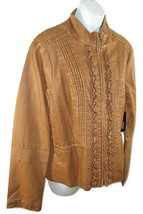 Ana Coat Jacket Coat Brown Womens Size Large Lined Pleated Ruffle Faux L... - $23.75