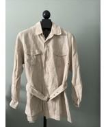 Go Linen Khaki Shirt Size 3 Camp Shirt Safari Top Tunic  EUC! - $23.20