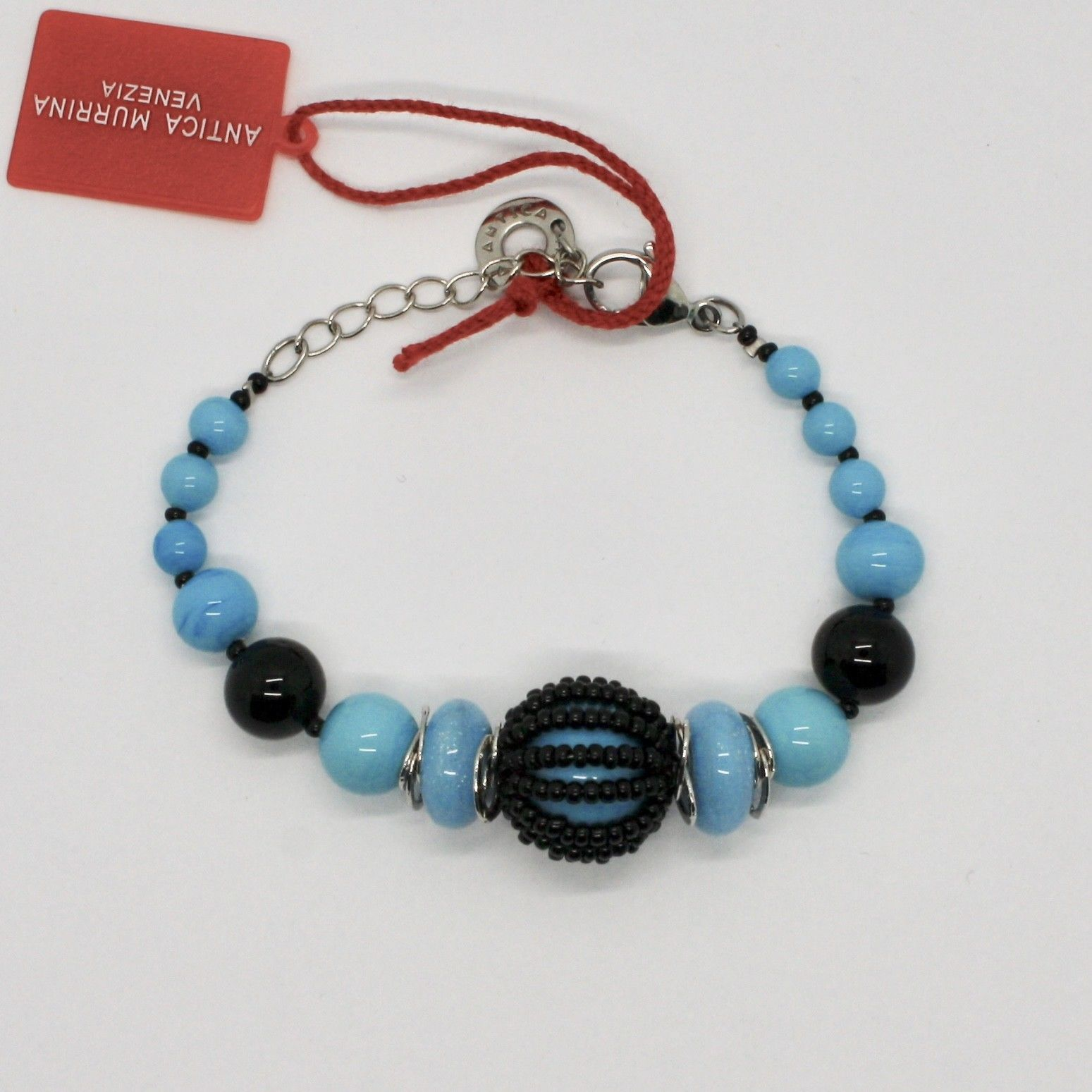 BRACELET ANTICA MURRINA VENEZIA WITH MURANO GLASS BLUE BLACK TURQUOISE BR742A07