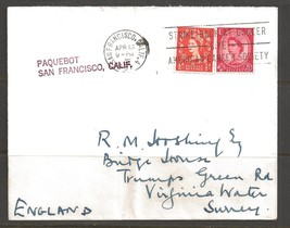 1961 Paquebot Cover British stamp used in San Francisco, California (Apr... - $5.00