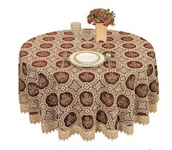 Simhomsen Vintage Burgundy Lace Tablecloth Embroidered Round 60 Inch
