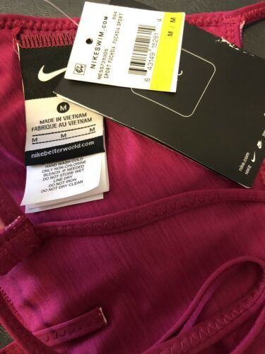 NIKE Sport Fuchsia Reversible Halter Bikini Swim TOP Medium NEW!