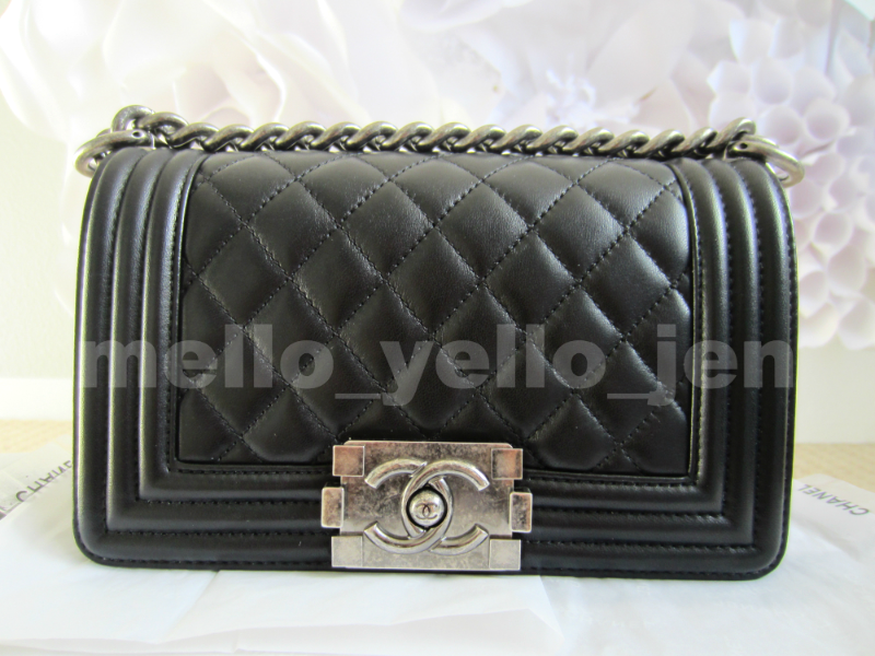 73512561a07d Img 4177837385 1490497784. Img 4177837385 1490497784. NEW Chanel Black  Lambskin Small Boy Quilted Flap Bag ...