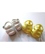 2 Pair Sandals White Yellow  American Girl, Battatt or Similar Sized As ... - $7.91