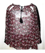 Jessica Simpson Tunic Top Shirt Women Size XS Floral Sheer Long Sleeve L... - $9.89