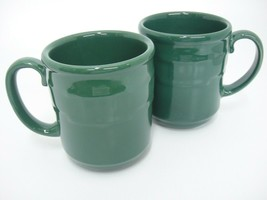 Longaberger Pottery Woven Traditions 2 Ivy Green Mugs 12 oz Made in USA - $24.74