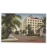 Gulf Stream Hotel Lake Worth Florida linen postcard - $5.94