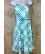 LOFT Dress Sz 14P Petite Sage Green Gingham Checker Strapless Spring Sum... - $22.76