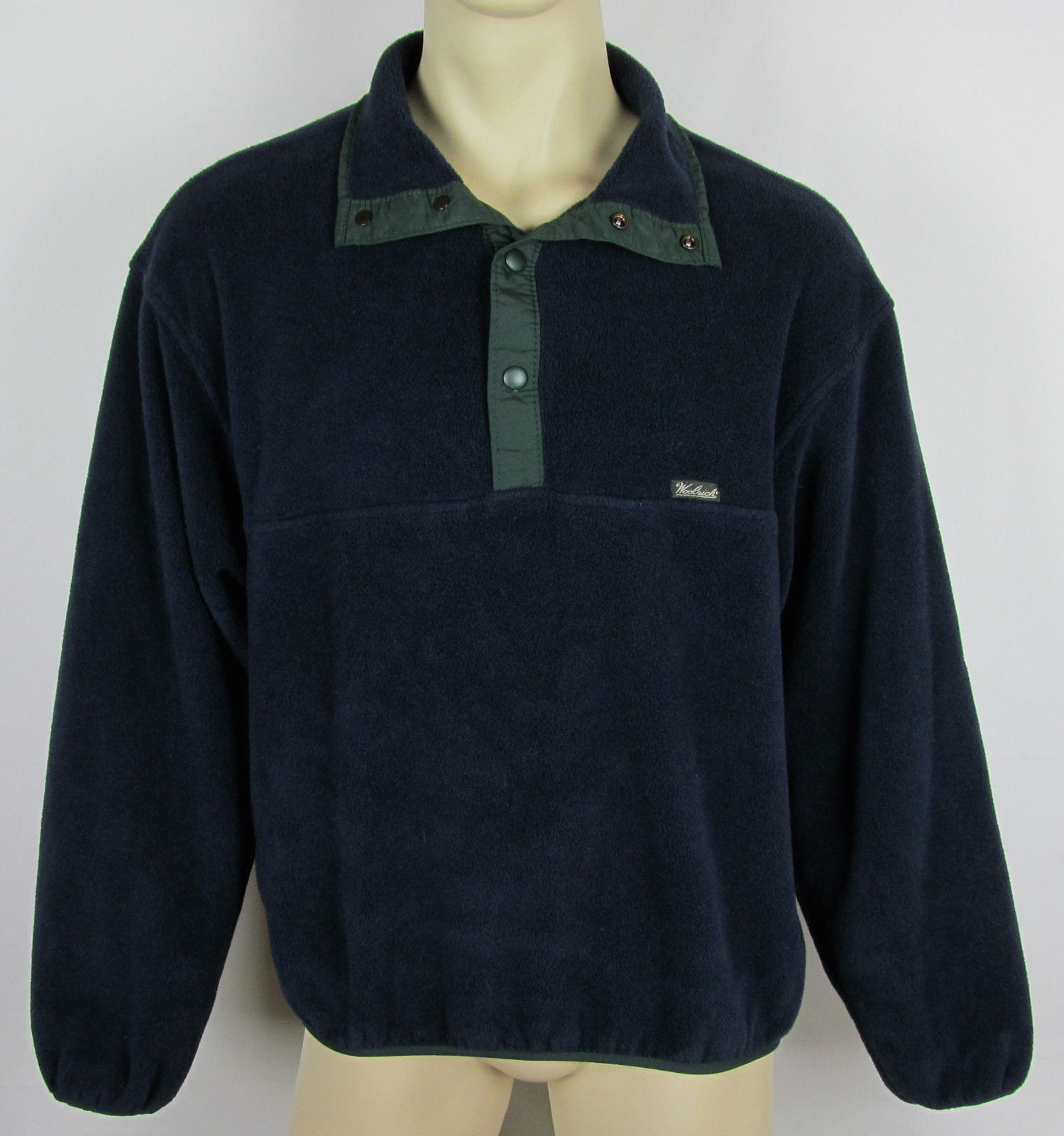 Woolrich Snap-T fleece jacket USA Made Navy Blue Mens Size L image 1