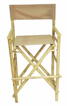 Bamboo Tiki Bar Stools Patio Deck Folding Directors Chair Set of 2, Two ... - $176.35