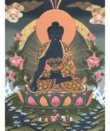 MEDICINE BUDDHA TIBETAN THANGKA THANKA ORIGINAL PAINTING IN GOLD FINEST ART - $84.00