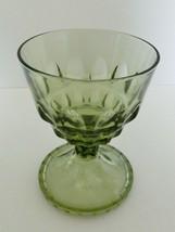 Hazel Atlas Thumbprint Avocado Green Footed Pedestal Candy Dish No Lid - $12.86