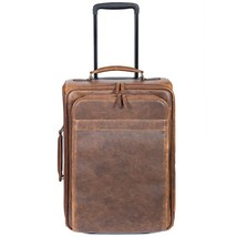 "NEW SCULLY AERO SQUADRON LEATHER 20"" CARRY-ON UPRIGHT WHEELED LUGGAGE BROWN - $494.95"