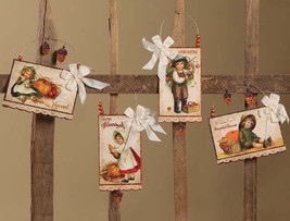 Bethany Lowe Harvest Postcard Ornament 4pc Fall Thanksgiving Vintage Dec... - $38.95