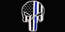 Lot of 6 USA Thin Blue Line Demon Skull Grey Outline Police Decal Bumper Sticker - $13.88