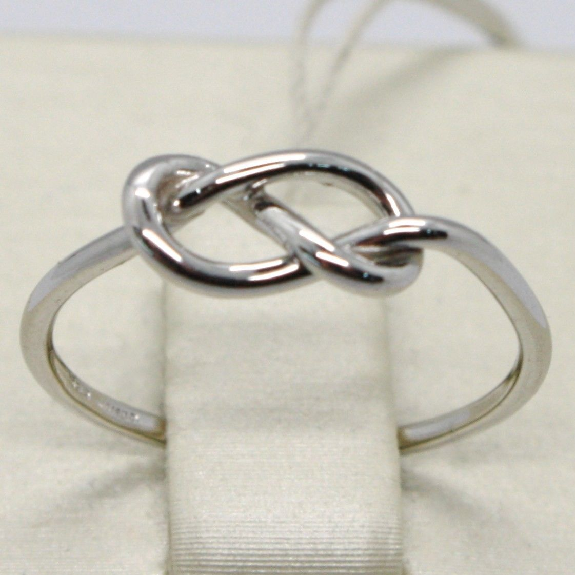 18K WHITE GOLD INFINITE CENTRAL RING, INFINITY, SMOOTH, BRIGHT, MADE IN ITALY