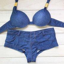 Vintage Sexy Push Up Women Denim Bikini Set - $25.98