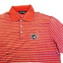 Ralph Lauren Polo Golf Mens Shirt Red Large Striped Short Sleeve wicking - $25.84