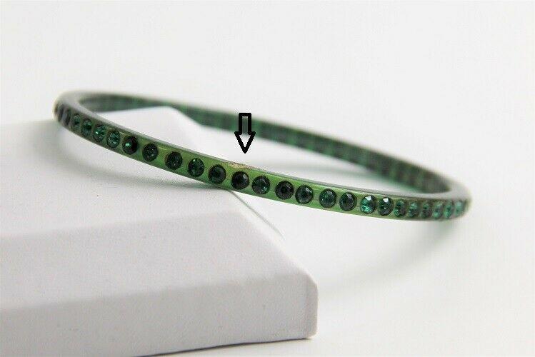 "7"" VINTAGE ESTATE Jewelry GREEN CELLULOID RHINESTONE SPARKLE BANGLE BRACELET"